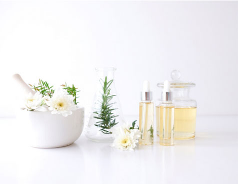 Calming aromatherapy oils and skincare products
